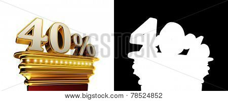 Forty percent figure on a golden platform with brilliant lights over white background with alpha map