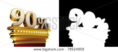 Ninety percent figure on a golden platform with brilliant lights over white background with alpha map
