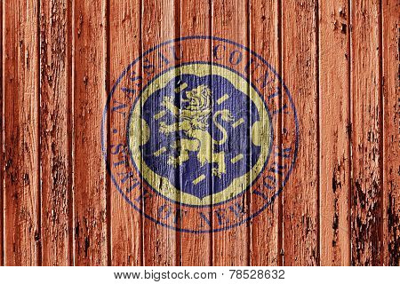 Flag Of Nassau County Painted On Wooden Frame