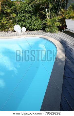 Closeup of private swimming-pool
