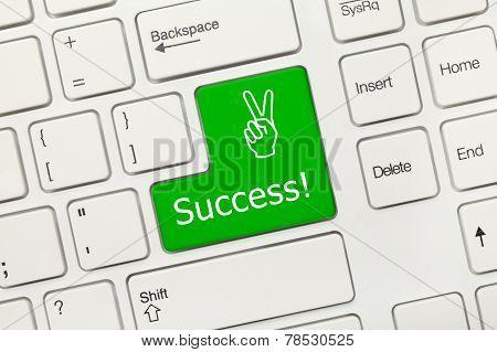 White Conceptual Keyboard - Success (green Key)