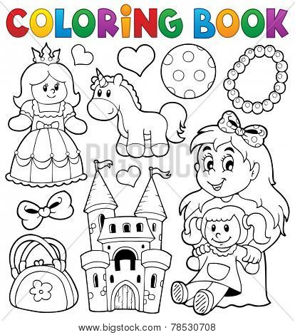Coloring book with toys thematics 1 - eps10 vector illustration.