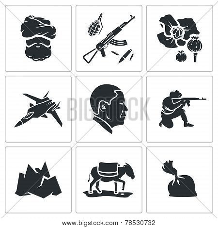 Set Of Afghanistan Vector Icons