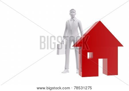 Salesman And House Symbol