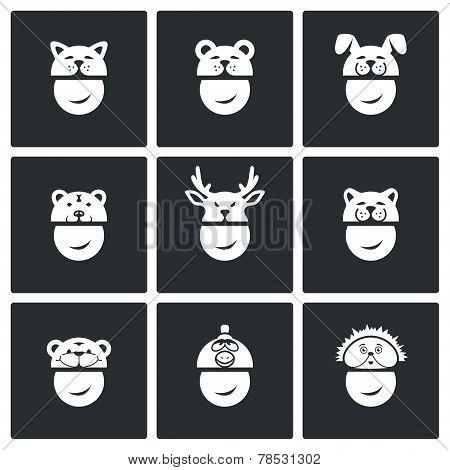 Christmas Hats Vector Icons Set