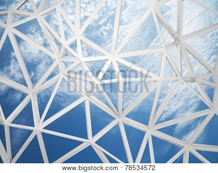 3D Wired Construction With Chaotic Triangles Shape On Blue Sky