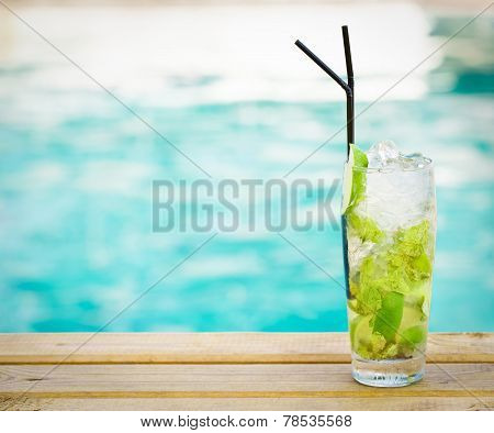 Mohito Mojito Drink With Ice Mint And Lime Swimming Pool