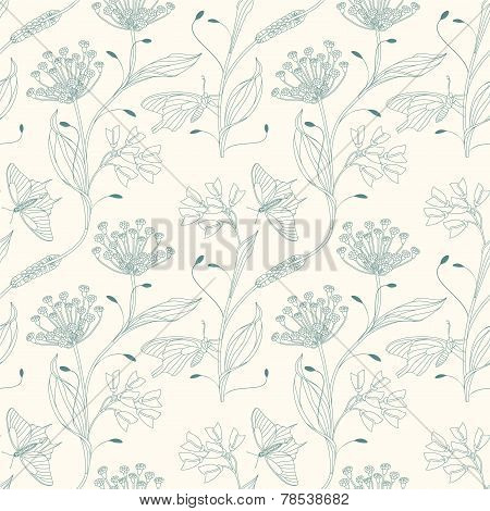 Insects And Flowers On A White Background