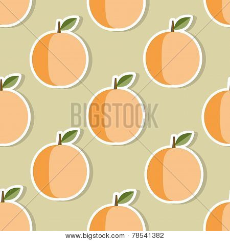 Peach Pattern. Seamless Texture With Ripe Peaches