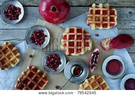 Waffle With Pomegranate Sorbet