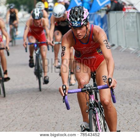 Maria Ortega Front View Cycling In The Triathlon Event