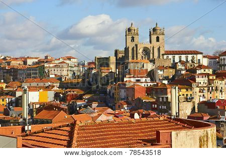 Roofs Of Old City And The Porto Cathedral (se Do Porto)