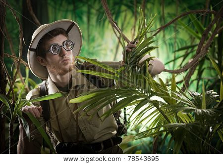 Young Explorer Lost In Jungle