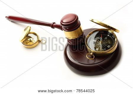 Judge's Wooden Gavel And Compass
