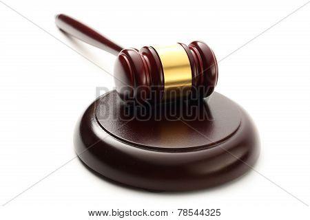 Judge's Wooden Gavel And Block