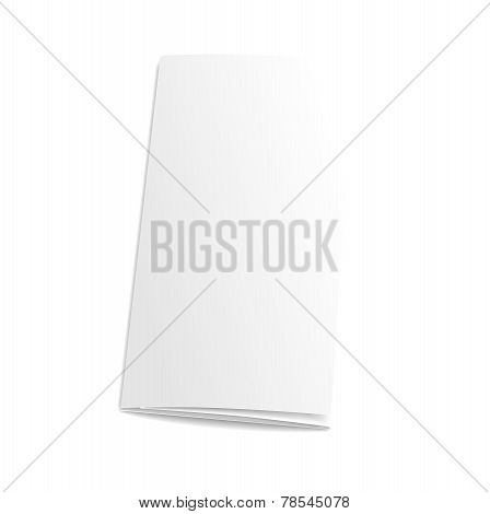 Blank trifold paper brochure. on white background with soft shadows. Vector illustration.
