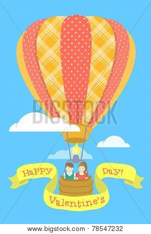 Couple in love on a hot air balloon