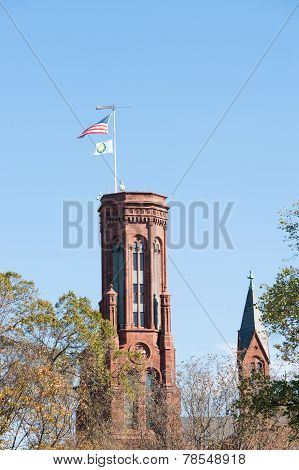 Brick tower with US flag.