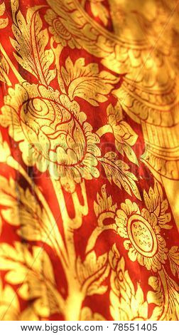 Thai Oriental Red And Gold Flower Illustration Pattern