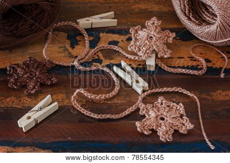 Handmade Brown Crochet Snowflakes For Christmas Decoration Of Chaplet With Pin