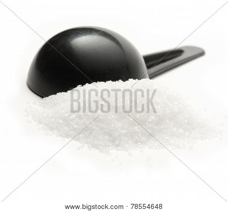 White Salt Granulated With Spoon