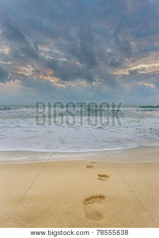 Footprints on the beach in Koh Samui Thailand