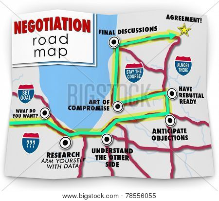 Negotiation word on a road map ponting you with direction to set your goals, research options, compromise and reach an agreement that has mutual benefit