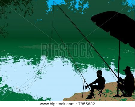 Child And Grandfather Fishing