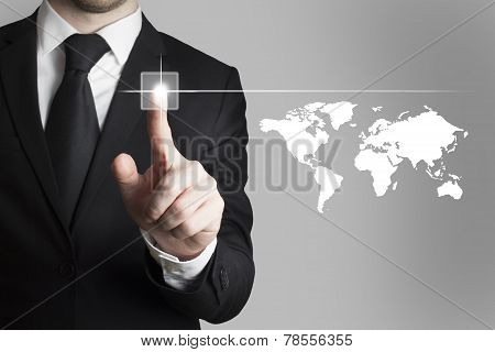 Businessman Pushing Button Worldmap Global