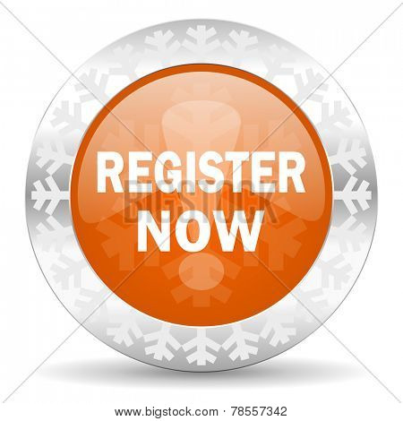 register now orange icon, christmas button