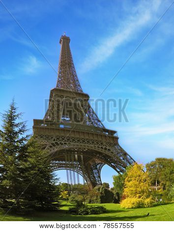 Park at the foot of the Eiffel Tower. Travel Paris. Unexpected angle Fisheye lens takes