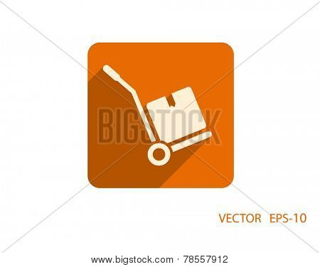 Flat long shadow Hand truck icon, vector illustration