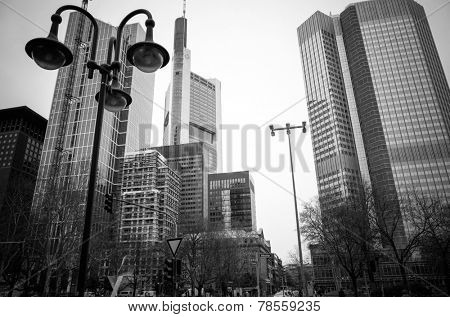FRANKFURT, HESSE-February 12 : Frankfurt am Main.Frankfurt is the largest city in the German state of Hesse and the fifth-largest city in Germany,February 12,2014 in Frankfurt, Germany.