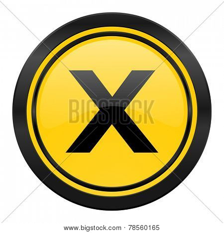 cancel icon, yellow logo,