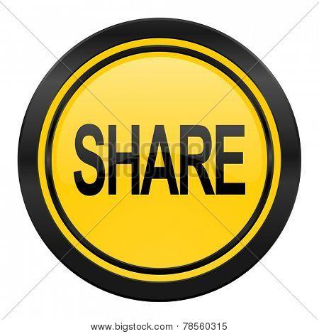 share icon, yellow logo,