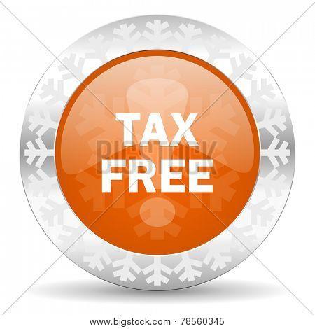 tax free orange icon, christmas button