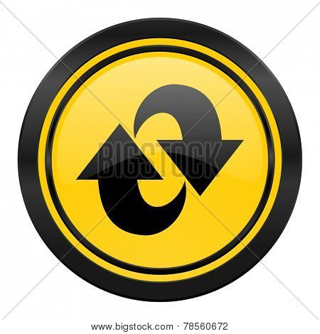 rotation icon, yellow logo, refresh sign