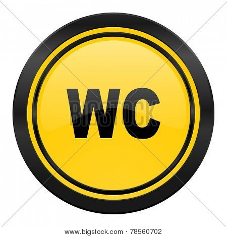 toilet icon, yellow logo, wc sign