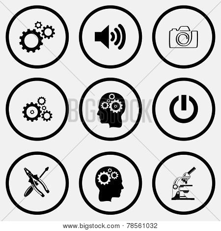 Tehnology set. Black and white set vector icons.