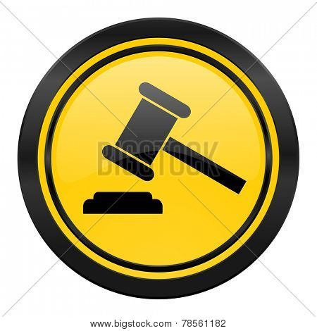 auction icon, yellow logo, court sign, verdict symbol
