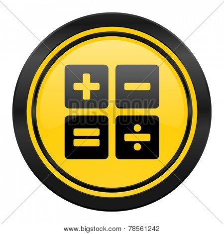 calculator icon, yellow logo, calc sign