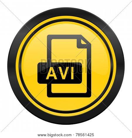 avi file icon, yellow logo,