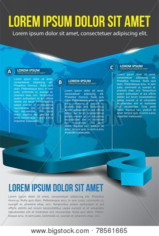 Business vector blue background with three step and with continents