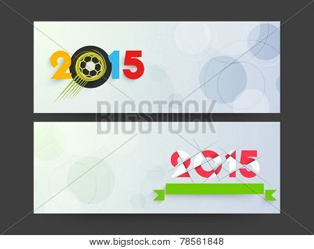 Happy New Year 2015 and Merry Christmas celebration website header or banner set with beautiful text.
