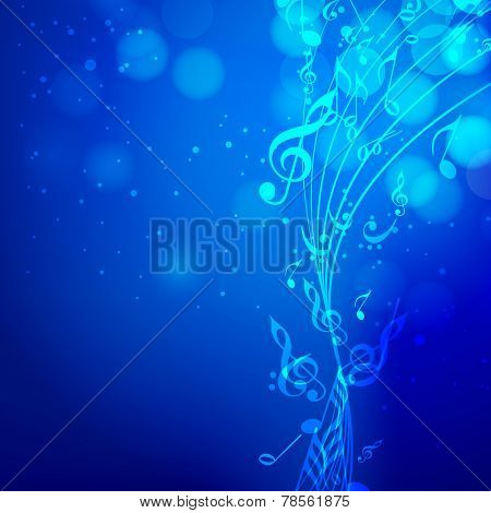 Shiny musical blue waves with musical notes on stylish blue background.
