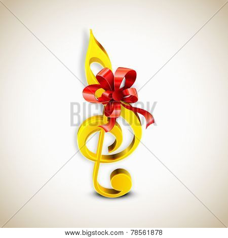 Shiny golden color g-clef with red ribbon on stylish background.