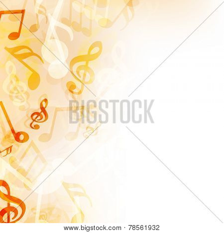 Shiny musical notes on beige background.