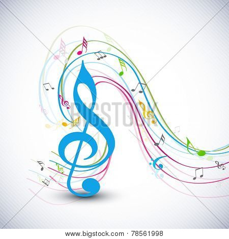 Blue g-clef with colorful musical notes wave on stylish background.
