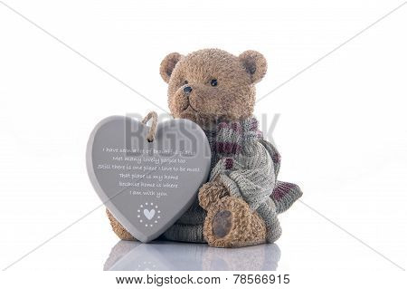 Brown Bear Money-box With Heart