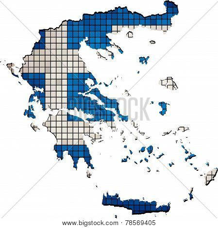 Greece map with flag inside